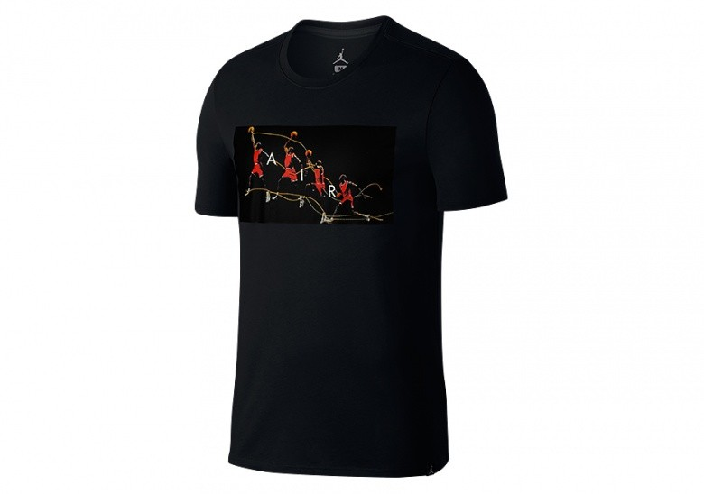 NIKE AIR JORDAN DRY FLIGHT PHOTO BASKETBALL TEE BLACK