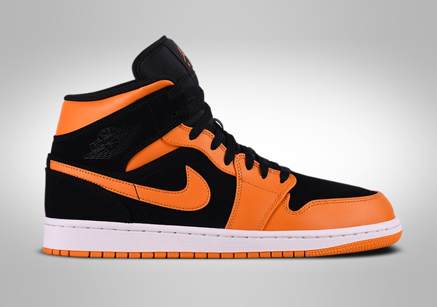 best loved fe9ec c0dbf NIKE AIR JORDAN 1 RETRO MID BLACK ORANGE PEEL