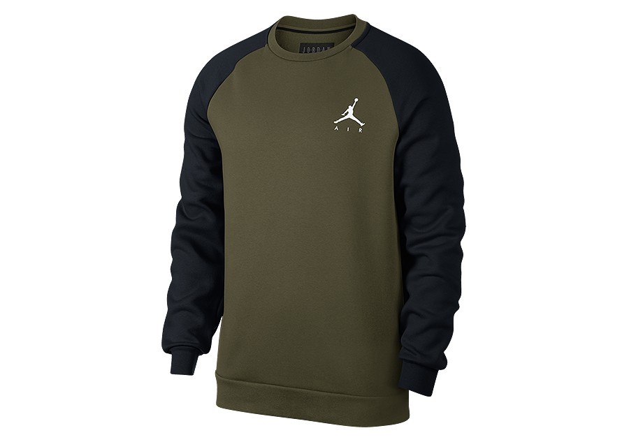 6bcc9fe9fb7a12 NIKE AIR JORDAN JUMPMAN FLEECE CREW OLIVE CANVAS BLACK price €55.00 ...