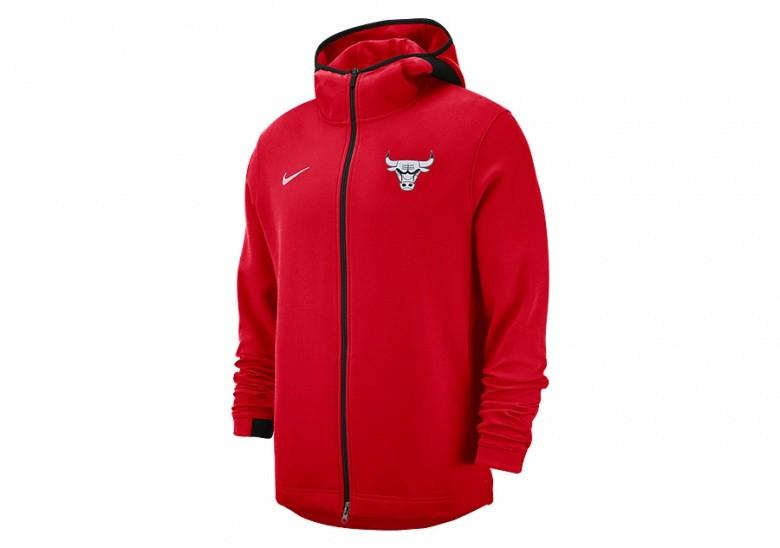 reputable site 8853e dbbdc NIKE NBA CHICAGO BULLS SHOWTIME DRY HOODIE UNIVERSITY RED