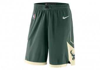 NIKE NBA MILWAUKEE BUCKS SWINGMAN ROAD SHORTS FIR