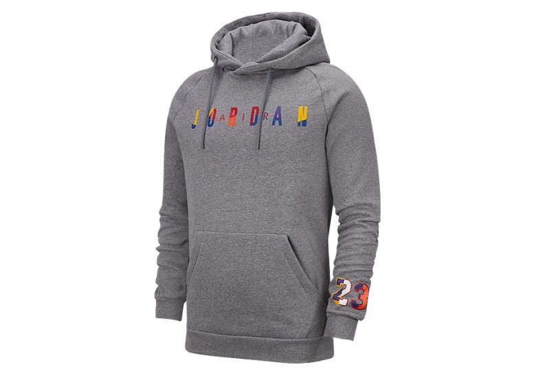 NIKE AIR JORDAN DNA PULLOVER FLEECE HOODIE CARBON HEATHER