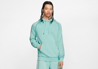 NIKE AIR JORDAN WASHED FLEECE PULLOVER LIGHT AQUA