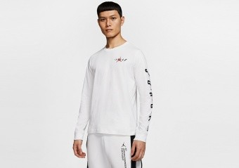 NIKE AIR JORDAN 'SWERVE' LONG-SLEEVE TEE WHITE