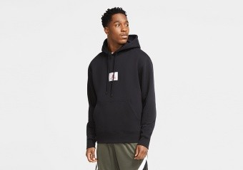 NIKE AIR JORDAN FLIGHT FLEECE PULLOVER HOODIE BLACK