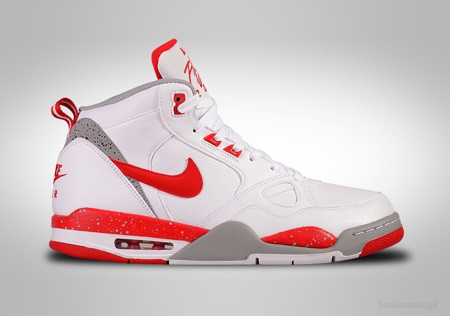 NIKE AIR FLIGHT '13 MID WHITE UNIVERSITY RED SILVER